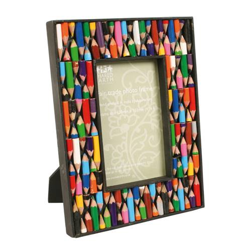 "Photo frame, recycled crayon, for 4x6"" photo"