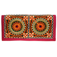 Bright clutch bag embroidered peacock design 24x12cm