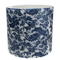 Candle damask leaf blue + white, 15cm lantern
