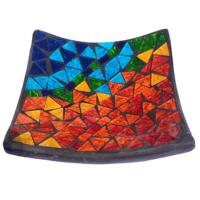 Curved plate, mosaic, 15cm rainbow colours