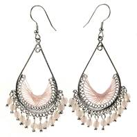Earrings, silver and pink coloured teardrop with beads