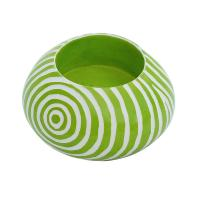 Kisii stone round t-lite holder, green
