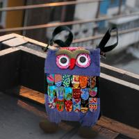 Backpack, fabric, owl assorted colours 22x33cm
