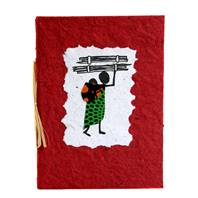 Greetings card, woman with firewood + baby, red