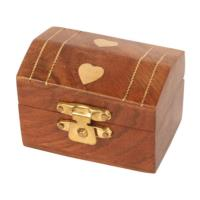 Wooden box with brass inlay hearts