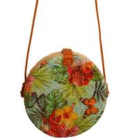 Shoulder bag, rattan, round, faux leather strap, bright floral