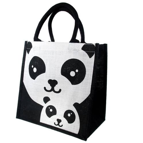 Jute shopping bag, square, panda and baby