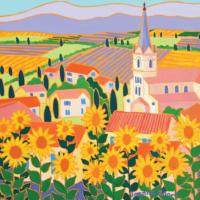 "Greetings card ""View through Sunflowers, Bonnieux, Provence"" 16x16cm"