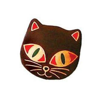 Leather coin purse cat brown