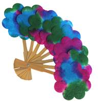 Paper fan daisy shape assorted colours 20cm
