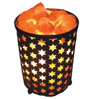 Salt lamp in metal cylinder with cutout stars 17cm