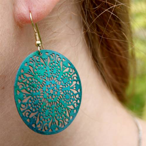 Earrings turquoise cutout discs