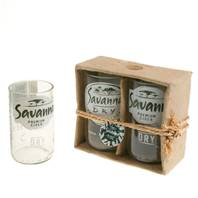 Pack of 2 glass tumblers, recycled Savanna bottles, clear