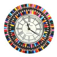 Clock round - recycled crayons 22cm diameter