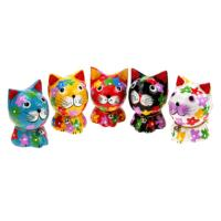 Colourful cat standing, 7cm height, set of 5