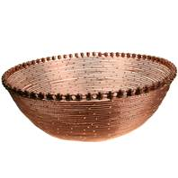 Bike chain and wire bowl, copper colour, 28cm