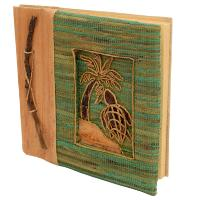 Handmade notebook, inlaid turtle design, 19x19cm