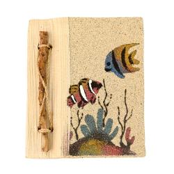 Handmade notebook, fish, 10x12cm