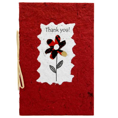 Thank you card, flower, red