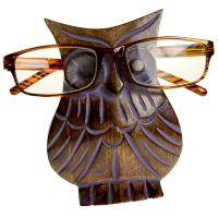 Spectacle stand, mango wood, owl purple