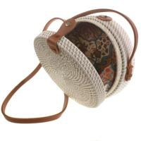 Shoulder bag, rattan, round, faux leather strap, white