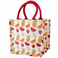 Jute shopping bag, square, fruit