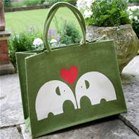 Jute shopping bag, green with elephants 32x42x18cm