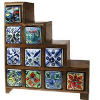Wooden mini chest, 4+3+2+1 ceramic drawers
