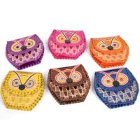 Set of 6 mini leather coin purses owl design