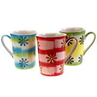 Mug, daisies, assorted colours height 11cm