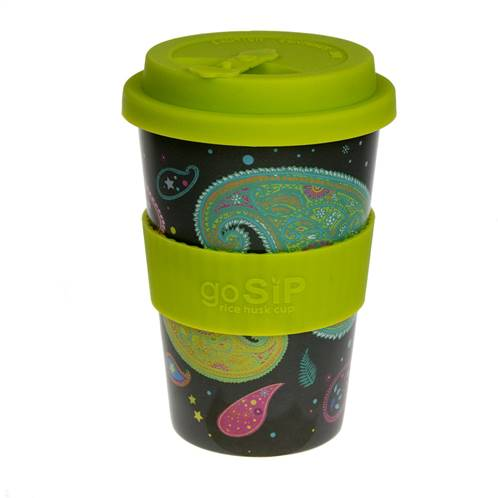 Rice husk cup 14oz, paisley cosmos