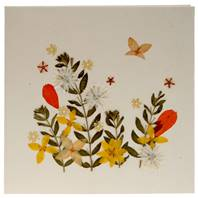 Handmade greetings card, wild flowers with butterfly
