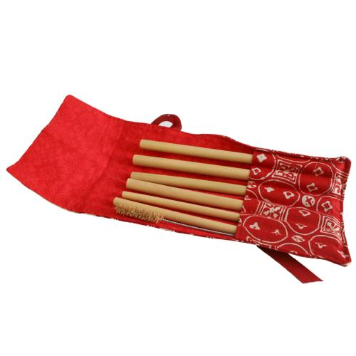Set of 6 bamboo straws, 1 cleaner in red cotton pouch