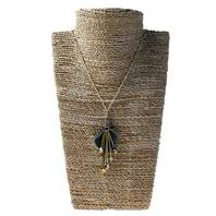 Necklace, gold coloured spikes with black leather