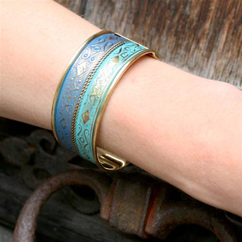 Bangle, turquoise and blue
