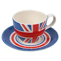 Union Jack painted ceramic cup and saucer set