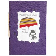 Birthday card, monkey, purple