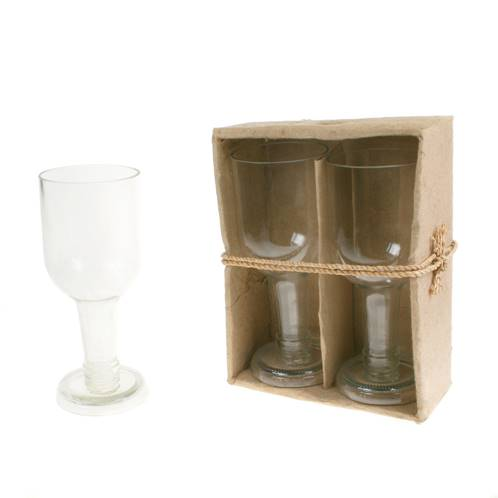 Pack of 2 wine glasses, recycled glass bottles, clear