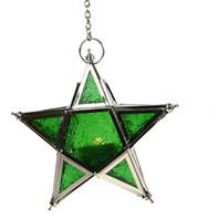 Lantern, star shape green, 17cm with chain