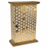 Key cabinet, mango wood honeycomb design