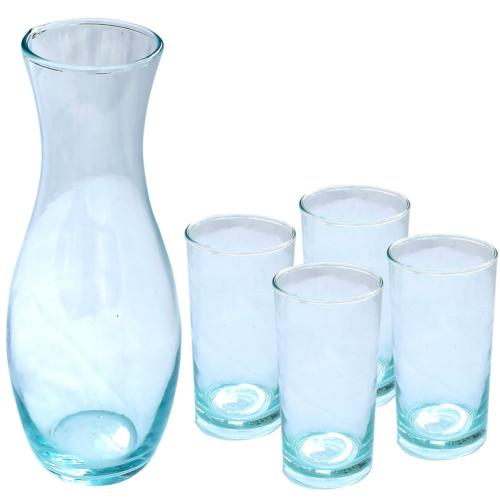 Carafe & 4 highball glasses recycled glass