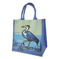 Jute shopping bag, heron