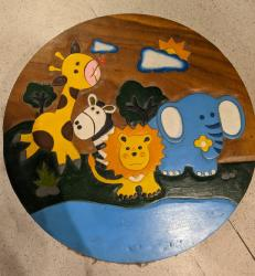 Hand carved African animals children's table