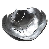 Coconut bowl silver colour lacquer inner, leaf design