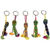 Keychain, caterpillar, recycled fabric assorted colours