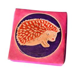 Leather coin purse hedgehog