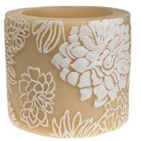 Candle Japanese chrysanthemum white + ivory, 10cm recessed