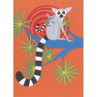 Greetings card ring-tailed lemur 17x12.5cm