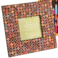 "Photo frame, recycled pencil crayons, 3x3"" photo"