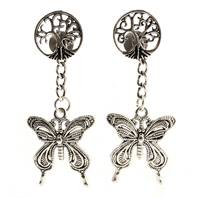 Ear studs, tree of life, with hanging butterfly